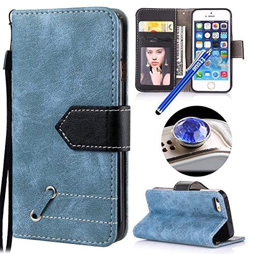 Etsue - Coque de téléphone pour iPhone 5/5S/SE,Etui en Cuir à Ouverture Vertical Rabattable ,extraordinaire Rabattable ultra Mince Housse en Cuir Case pour iPhone 5/5S/SE,Datura Stramonium Motif Gaufr Bleu+Noir
