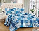 Patchwork Tagesdecke Türkis Bettüberwurf Überwurf für Doppelbett Blau 230x250 Quilt