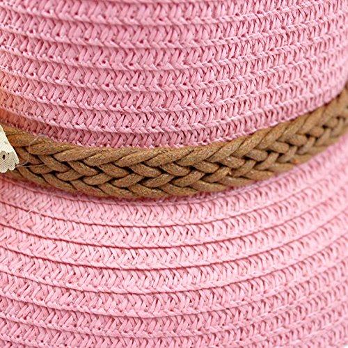 VANKER 1X chica de moda borde del casquillo del verano de la playa Mar Bella de la armadura de la flor de Sun de la paja del sombrero (Rosa)