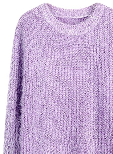 ACHICGIRL Women's Casual Long Sleeves Round Neck Solid Mohair Sweater purple