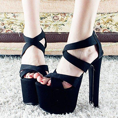 GTVERNH-14 Cm Super - High Heels Schuhe Wasserdicht Sandalen Mit Grob Nachtclub Sexy Schuhe Party - Modell 38 Schwarz (Ferse 14 Quadratische)