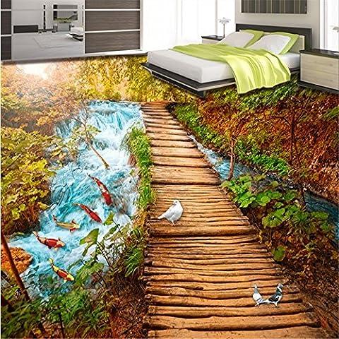 Sproud Benutzerdefinierte Hintergrund schönen Wasserfall Wasser neun Fisch Abbildung 3 D Pigeon 3D Malerei Wasserdichter dicken Stock 300cmx210cm