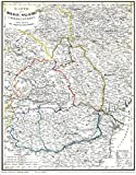 Historische Karte: Moldau, Walachei, Siebenbürgen mit Bessarabien 1848 (Plano): Basarabia, Transsilvanien, Ardeal, Transilvania, Erdély, Moldova, Siweberjen -