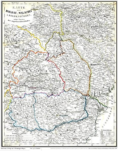 Historische Karte: Moldau, Walachei, Siebenbürgen mit Bessarabien 1848 (Plano): Basarabia, Transsilvanien, Ardeal, Transilvania, Erdély, Moldova, Siweberjen