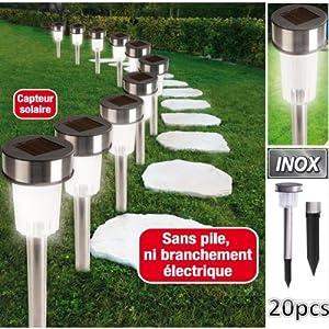 ProBache - Set de 20 bornes lampes solaires inox à Led blanche