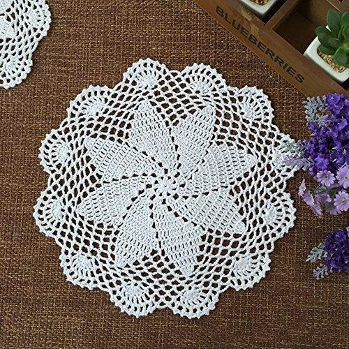Yazi Set aus 4Untersetzern Hand Anhäkeldeckchen Blume Rund Baumwolle Tischsets Deckchen für Becher Glas 20cm (Runde Bankett-tisch)