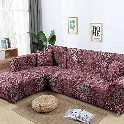SSDLRSF Flower Printing Sofa Abdeckung Enge Wrap All-Inclusive StretchHussen für Wohnzimmer Waschbar Startseite/Hotel Couch Cover (90-300 cm), Farbe 15,2seater 145-185 cm