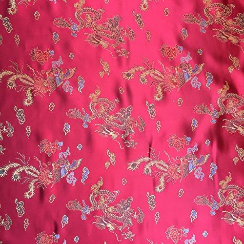 Rot 114,3cm breit geflochten Chinesischer Drache Brokat Kleid Stoff-Meterware -