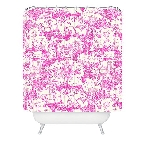 DENY Designs 71 by 74-Inch Rachelle Roberts Farm Land Toile in Pink Shower Curtain, Standard - Toile Farm
