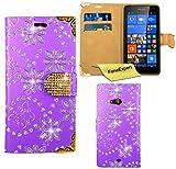 Microsoft Lumia 535 Hülle, FoneExpert® Bling Luxus Diamant Hülle Wallet Case Cover Hüllen Etui Ledertasche Premium Lederhülle Schutzhülle für Microsoft Lumia 535 + Displayschutzfolie (Lila)