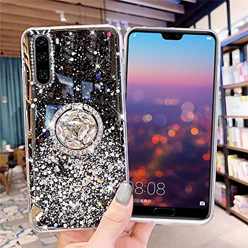 Uposao Kompatibel mit Huawei P30 Pro Hülle Glitzer Mädchen Frauen Diamant Glänzend Strass Bling Schutzhülle Silikon Clear Durchsichtige Hülle Weich TPU Tasche mit Ring Ständer,Schwarz