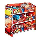 Disney Cars - Regal zur Spielzeugaufbewahrung mit sechs Kisten für Kinder