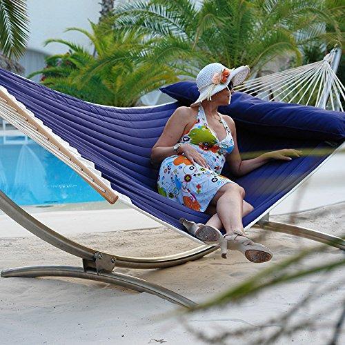 Luxus Hängemattenset Chico Alpha Edelstahlgestell mit gefütterter, wetterfester Stabhängematte American Lifestyle OCEAN mit Kissen