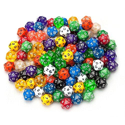 lzwin 50 zählen diverse packung mit 20 seitige würfel hat polyhedral d20 würfel tasche mit gratis - beutel