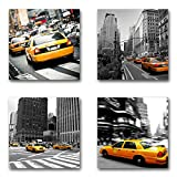 USA New York Taxi - Set B schwebend, 4-teiliges Bilder-Set je Teil 29x29cm, Seidenmatte moderne Optik auf Forex, UV-stabil, wasserfest, Kunstdruck für Büro, Wohnzimmer, XXL Deko Bild
