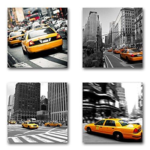 USA New York Taxi - Set B schwebend, 4-teiliges Bilder-Set je Teil 19x19cm, Seidenmatte moderne Optik auf Forex, UV-stabil, wasserfest, Kunstdruck für Büro, Wohnzimmer, XXL Deko Bild