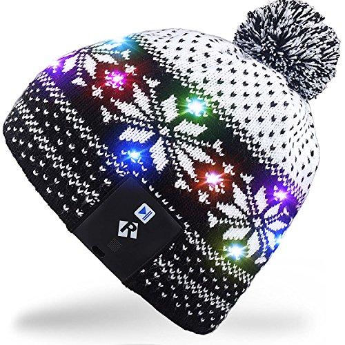 Rotibox LED String Leuchten Beanie Hut Strickmütze mit Kupferdraht Bunte Lichter 4 Füße 18 LEDs für Männer Frauen Innen und Outdoor, Festival, Feiertag, Feier, Feiern, Bar, Schwarz