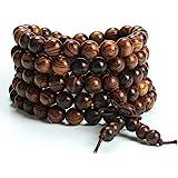Epoch World 8mm-108 Bracelet Perles en Bois de Santal Naturel Collier/Bracelet Chaîne Chapelet Perles Tibétain Bouddhiste Bou