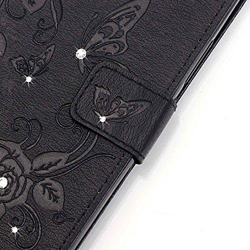 Hülle für Samsung Galaxy S7 Edge Schmetterling,TOCASO Glitter Strass Bling Ledertasche Muster Weich PU Schutzhülle für Samsung Galaxy S7 Edge Flip Cover Wallet Case Tasche Handyhülle mit Lanyard Strap #14#
