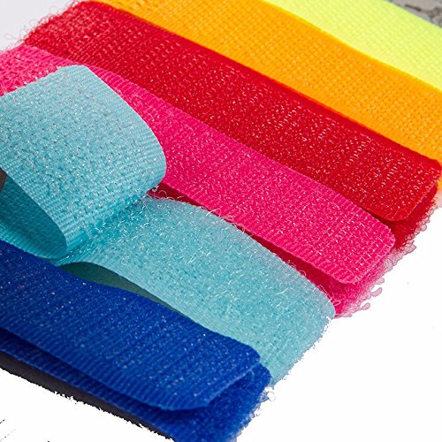 SpiderJuice Set Of 6 Multipurpose Colorful Velcro Ties for Curtain Cables Wires Straps to Organize the mess on your Desk Home Office Car (Assorted Colors)  available at amazon for Rs.170