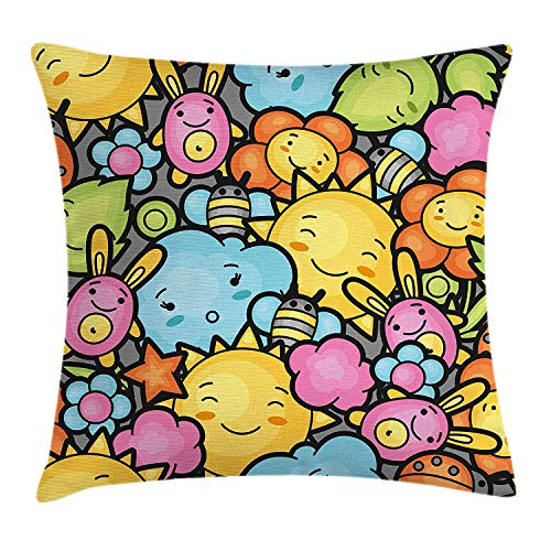BUZRL Nursery Throw Pillow Cushion Cover, Cute Cartoon Characters Happy Sun Bunnies Trees Bugs Clouds Bees Kawai Art Design, Decorative Square Accent Pillow Case, 18 X 18 Inches, Multicolor (Halloween Bunny Bugs Happy)