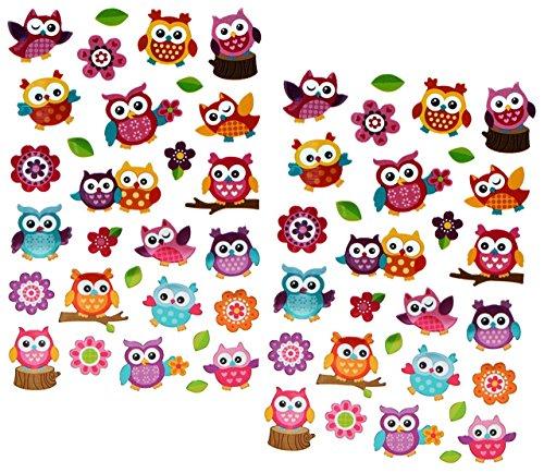 Unbekannt 58 tlg. Set Stickerset / Sticker / Aufkleber - Eulen bunt auf Ast mit Blumen - Bäume blau Vögel Tiere Eule bunte Baum Blätter (Blatt-baum-aufkleber Bunte)