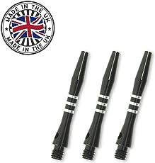 9 x British Darts Aluminium Schäfte Shaft mit Ring Gravur schwarz35mm Short TA1311 1 Satz British Darts Dartflights GRATIS