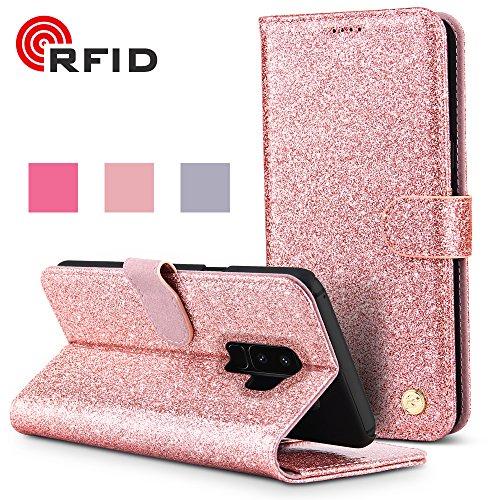 BELK Samsung Galaxy S9 Plus Wallet Case, Luxus Bling Glitter PU-Leder-Schutz mit [Kartensteckplätzen] [RFID Blocking] [Standfunktion] für Fashion Girls - Rose Gold Scan-safe Wallet