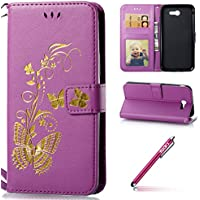 PU Cuir Coque pour Galaxy J7 2017 [US-Version],Galaxy J7 2017 Case Papillon Motif,Hpory élégant Vintage Bronzing Papillon Motif With Lanyard Strap PU Cuir Case BookStyle Folio Support PU Leather Wallet Case with Magnetic Closure and Stand Function and Credit Card Holder Multifonction de Shell en Soft Silicone Bumber Protector Étui Anti Poussière Anti-rayures et Shockproof Etui Coquille pour Samsung Galaxy J7 2017 + 1 x Hpory Stylus-(Violet)