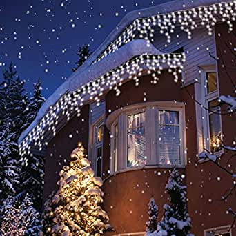 Sentik 240 snowing icicle ultra bright led lights white amazon christmas lighting outdoor lights mozeypictures Image collections