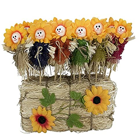 22 cm Sunflower Face Blumentopf Vogelscheuche Stick Stroh Holzstiel Cute Neuheit Dekoration Keen Gärtner Pflanze Ablegern, Blue/Green/Orange/Pink/Yellow, 6 Pack (36pc)