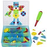 Jeux De Construction Mosaique Enfant Puzzle Jeu Motricite Fine Loisir Creatif Puzzle Mosaique Bloc Montessori Jouets avec 180 Pieces pour Enfants Cadeaux 3 4 5 6 Ans Fille Garcon
