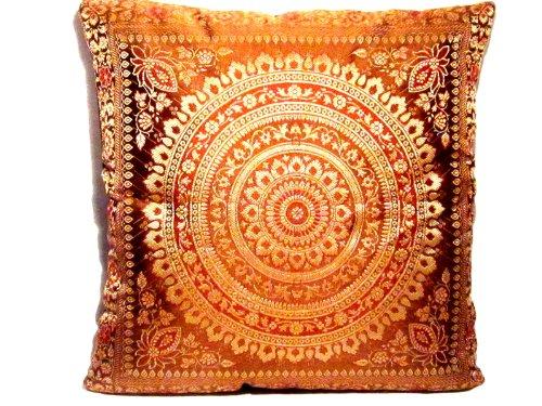 Indische Seide Deko Kissenbezüge 40 cm x 40 cm, Extravaganten Design für Sofa & Bett Dekokissen, Kissenhülle aus Indien (Angebot gültig nur für ein Woche) (Seide, Bett, Kissen)