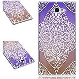 Beiuns Carcasa de TPU y silicona para Sony Xperia M2 Funda - BF510 Cruz púrpura