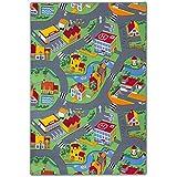 BilligerLuxus Teppich Kinderteppich Straßen Spielteppich Straßenteppich 133 x 180 cm grau