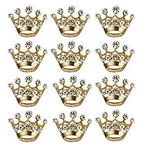 BESTOYARD 12 Stück Krone Brosche Mode Diamant Hochzeit Spektrumskrone Körperkette Hochzeit Valentinstag (Gold)