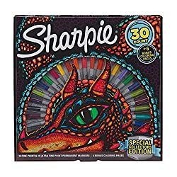 Sharpie Special Collectors Edition Permanentmarker und Drachenblätter, feine und ultrafeine Spitze, 30 Stück