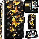 Ooboom Alcatel Shine Lite 5080X Coque 3D PU Cuir Flip Housse Étui Rabat Cover Case Wallet Portefeuille Support avec Porte-Cartes Pochettes pour Alcatel Shine Lite 5080X - Papillon Or