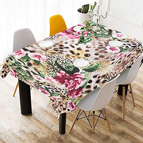 Yushg Sexy Bunte Leopardenmuster Baumwolle Leinen Gedruckt Platz Fleck Beständig Tischwäsche Tuch Benutzerdefinierte Abdeckung Tischdecke Für Küche Haus Esszimmer Tischplatte Decor 60 X 84 Zoll