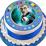 Cannellio Cakes Harry Potter Happy Birthday Kuchendekoration, vorgeschnitten, essbar, Blau