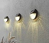 3er Set ( = 3 Stück ) Dekorative LED SOLAR Wandleuchte in BRAUN - wetterfeste Solar Außenleuchte für Garten, Haus, Eingang, Patio, Hof, Garage, Carport, Innenhof - Sicherheitslicht zur Vermeidung von Stürzen - je 2 warm weisse LED sorgen für helle Ausleuchtung - Größe je Lampe ca. 11 cm x 11 cm - mit integriertem SOLARPANEL - bereits inklusive : AKKU - Solar - Panel - Solar Energy - inklusive Material zur Wandmontage - OUTDOOR - Neu aus dem KAMACA-SHOP