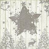 20 Servietten Winterszene silber / Hirsch / Stern / Bäume / Weihnachten 33x33cm
