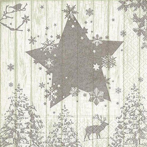 szene silber / Hirsch / Stern / Bäume / Weihnachten 33x33cm (Günstige Schneeflocke Dekorationen)
