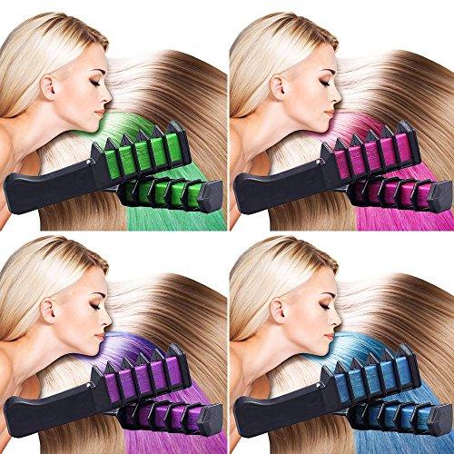 Richoose desechable instant¨¢nea de color tiza de pelo de tiza de tinte de pelo de larga duraci¨®n duradera Shimmer crema de color de pelo para los fans de partido Cosplay DIY 6PCS