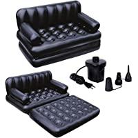 clever star 5 in 1 Inflatable Three Seater Queen Size Sofa Cum Bed with Electronic Pump (188x152x64 cm, Black)