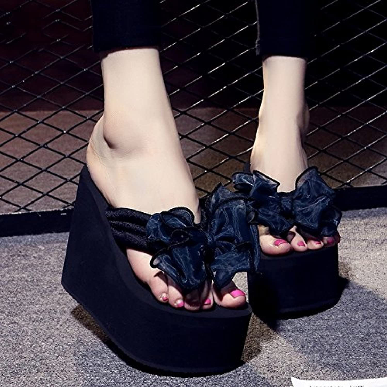 HAIZHEN Frauenschuhe 12cm Weibliche rutschfeste dicke Sandstrandschuhe Süßer Bogen beiläufige Schuhsandelholzeö
