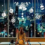 heekpek Autocollants De Noël Cloche de Noël Grelot De Boule Flocon de NeigeRéutilisable pour Fenêtre Mur Porte Vinyle Décoration Extérieur De Noël pour La Maison Magasin Fenêtre Porte Marché