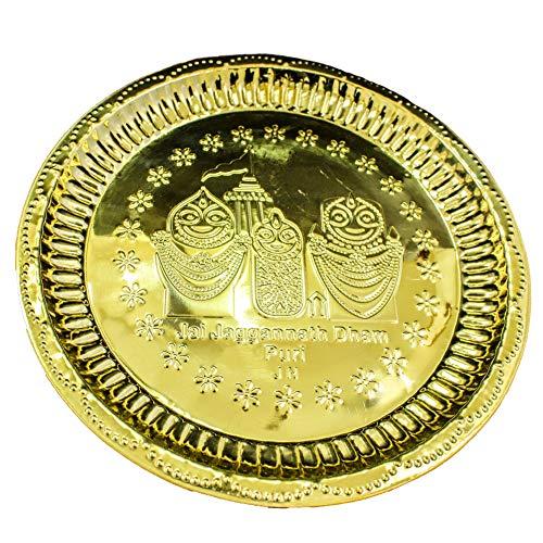 der Heiligen Mart groß Messing Puja Thali jaganath Geschnitzt (dia-14Zoll) (Gravur Messing-teller)