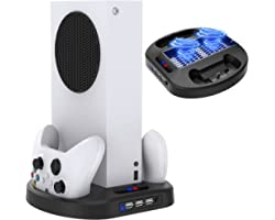 MENEEA Vertical Charging Stand for Xbox Series S Controllers with Cooling Fan, Charger Dock Station with LED Indicator and 3