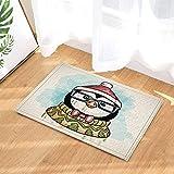 fdswdfg221 Wasserfarbe Malerei Dekor Eine Brille Pinguin mit Hut und Scraft für Winter Badteppiche für Badezimmer Rutschfeste Bodeneinstiege Outdoor Indoor Haustürmatte Kinder Badmatte